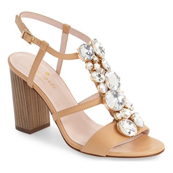 KATE SPADE NEW YORK isabell sandal - Chunky crystals lend fashionable flash to the caged vamp of...