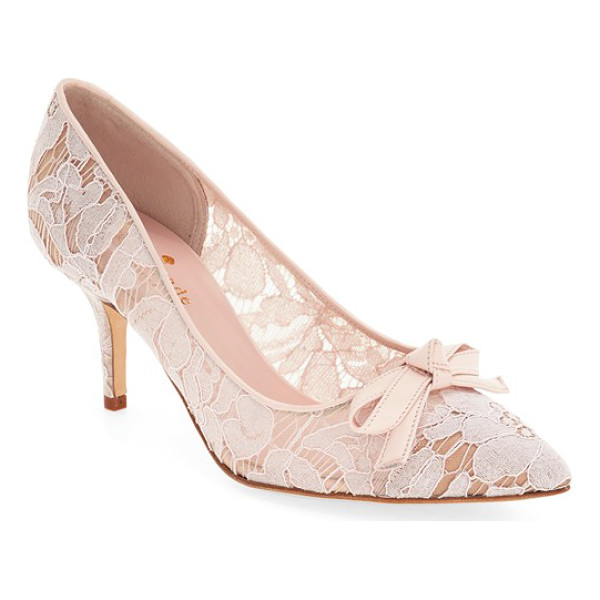 KATE SPADE NEW YORK 'jace' velvet bow lace pump - A velvety bow and delicate floral lace add to the ladylike...