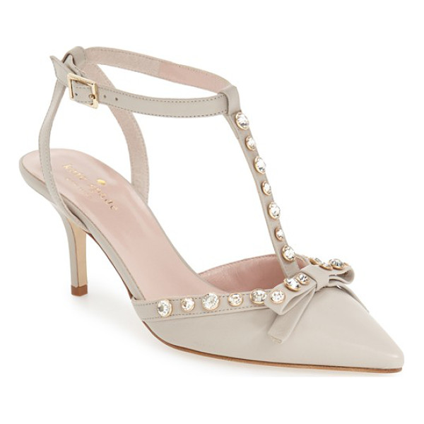 KATE SPADE NEW YORK julianna pointy toe pump - Faceted round crystals dazzle on the straps of a pointy-toe...