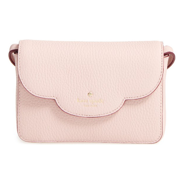 KATE SPADE NEW YORK leewood place joley leather crossbody bag - A scalloped flap adds a sweet touch to a tiny crossbody bag