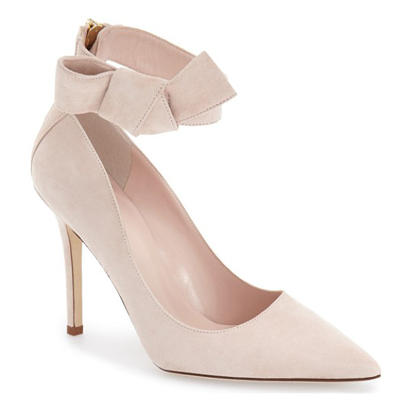 KATE SPADE NEW YORK levie pointy toe pump - A casually knotted bow pretties up the ankle strap of a...