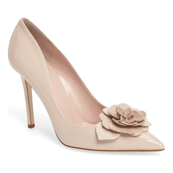 KATE SPADE NEW YORK linden pump - A showstopping dimensional flower blooms above the pointed...