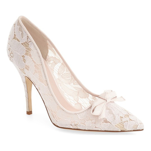 KATE SPADE NEW YORK 'lisa' pump - Contrast trim traces the topline of a playfully-patterned...