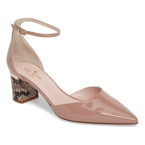KATE SPADE NEW YORK marylou pump - A snakeskin-print block heel lends unmistakable edge to a...