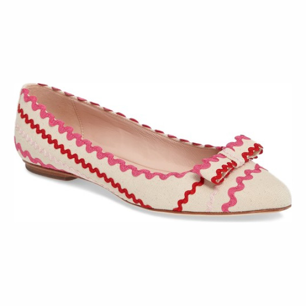 KATE SPADE NEW YORK noreen flat - Wavy rickrack trim adds festive charm to a chic pointy-toe...