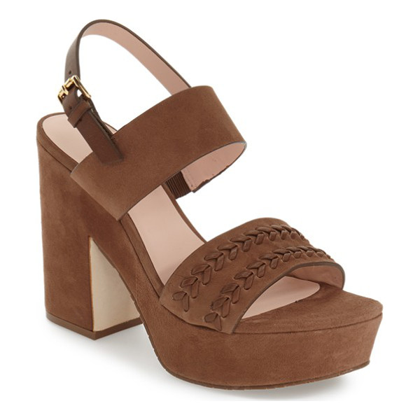 KATE SPADE NEW YORK rosa sandal - A chunky, suede-covered heel and platform extend the...