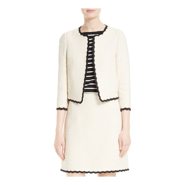 KATE SPADE NEW YORK scallop edge tweed jacket - Contrast embroidery accents the whimsically scalloped edges...