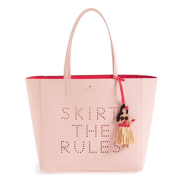 KATE SPADE NEW YORK Skirt the rules - A darling hula girl charm adorns a Saffiano leather tote...