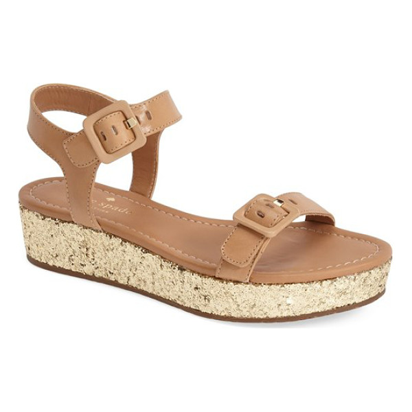 KATE SPADE NEW YORK teigan platform sandal - Golden flecks of glitter add a party-ready punch to a chic...