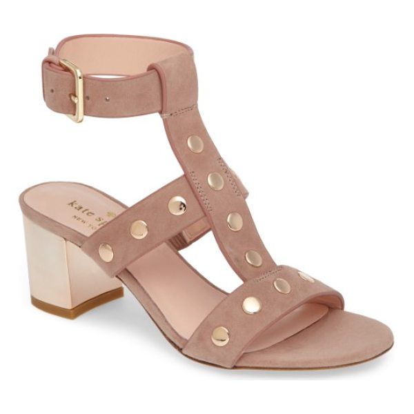 KATE SPADE NEW YORK welby t-strap sandal - A gilt-trimmed block heel and polished disc studs lend...