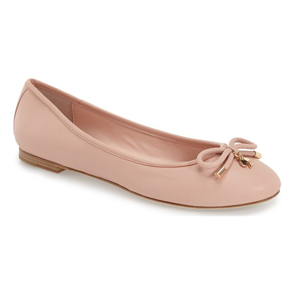 KATE SPADE NEW YORK willa skimmer flat - A prim, charm-embellished bow lends unmistakable signature...
