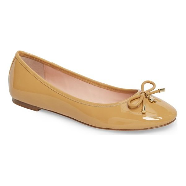 KATE SPADE NEW YORK 'willa' skimmer flat - A prim, charm-embellished bow lends unmistakable signature...