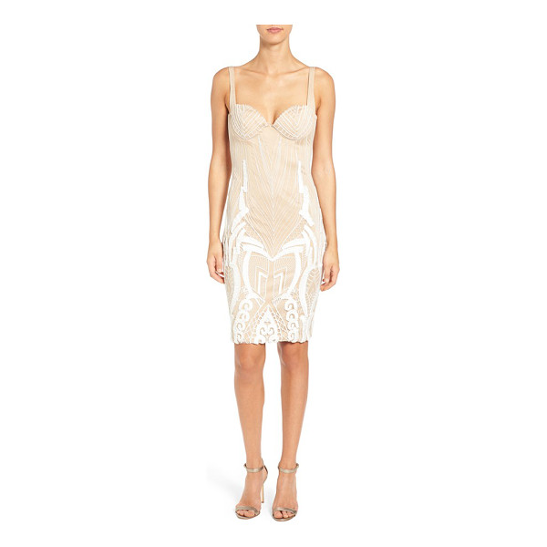 KATIE MAY 'cara' backless ribbon lace embroidered tulle sheath dress - An intricate play of ribbon and lace embroidery traces the...