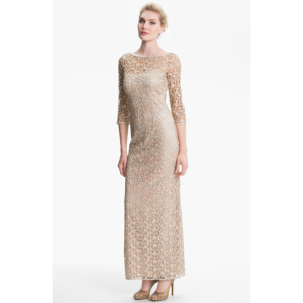 KAY UNGER embellished illusion neck lace gown - Embellished lace shapes the three-quarter-sleeve overlay of...