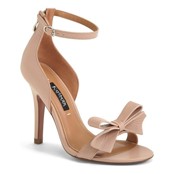 KAY UNGER baroque ankle strap sandal - A lithe ankle strap and a pristine bow at the toe perfect...