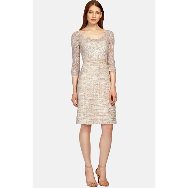KAY UNGER mixed media fit & flare dress - Luminous sequins radiate from the gauzy leotard-like bodice...