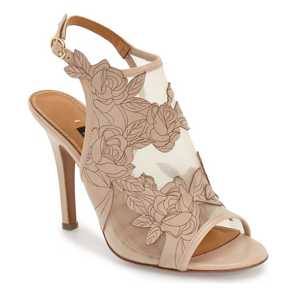 KAY UNGER nadina mesh slingback sandal - Floral-embroidered suede and sheer mesh beautifully...