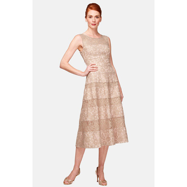 KAY UNGER lace midi dress - A detailed bonded-lace dress gains some high-tea swank from...
