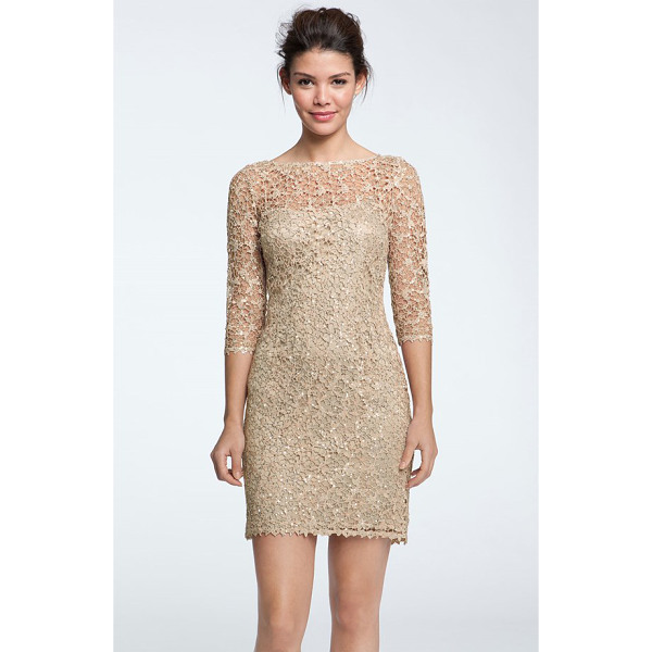 KAY UNGER sequin & lace sheath dress - Luminous sequins radiate from the metallic stitching of a...