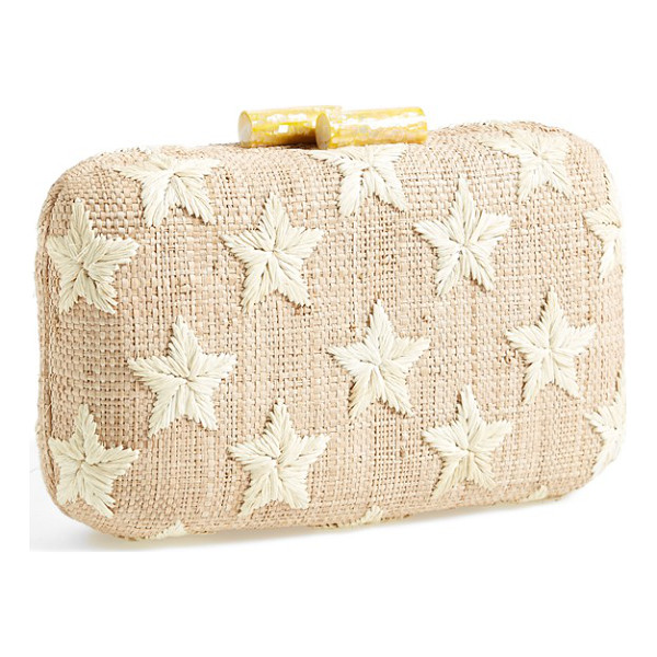 KAYU Star straw clutch - Embroidered stars take center stage on a handwoven straw...