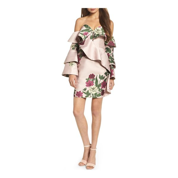 KEEPSAKE night lights off the shoulder minidress - Tailored with structured flounce, this floral-print...