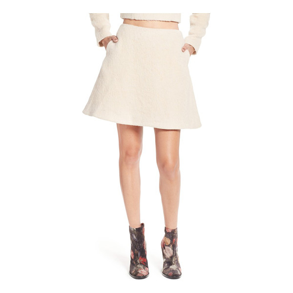 KEEPSAKE searchlight fuzzy a-line miniskirt - Fuzzy texture adds cool-weather whimsy to a flouncy A-line...