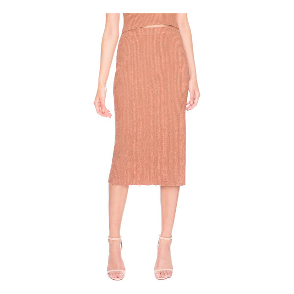 KEEPSAKE what if knit midi skirt - A stretchy, ribbed knit creates a curve-hugging fit in a...