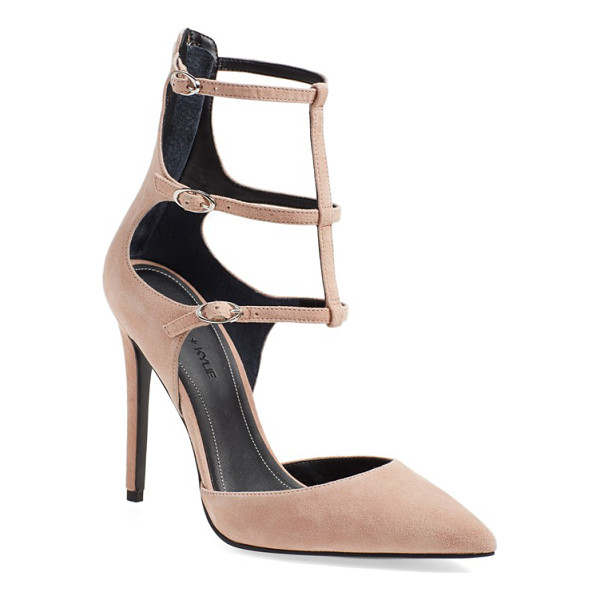 KENDALL + KYLIE alisha tiered ankle strap pump - A trend-right pointy-toe pump is fashioned with a sultry...