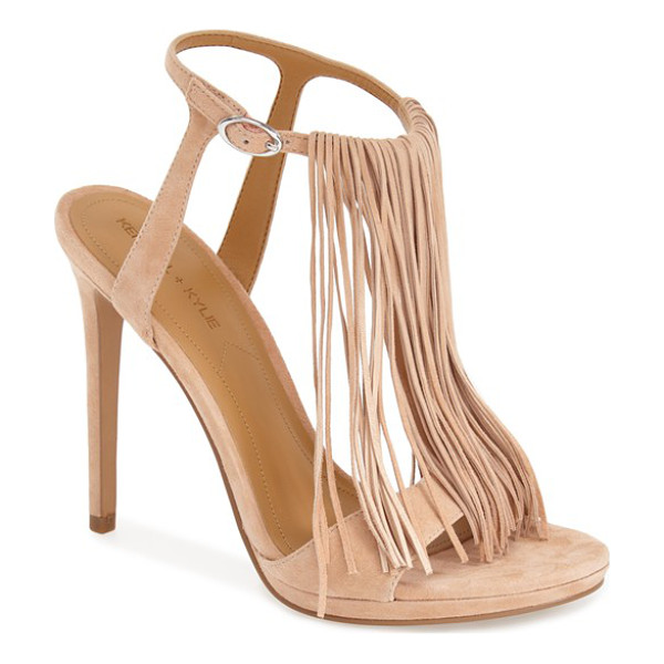 KENDALL + KYLIE aries fringe t-strap sandal - Dramatic fringe adds flirty movement and vintage attitude...