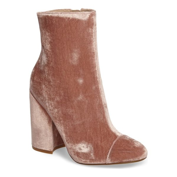 KENDALL + KYLIE kaden velvet bootie - A cap-toe bootie with a curved block heel goes luxe in...