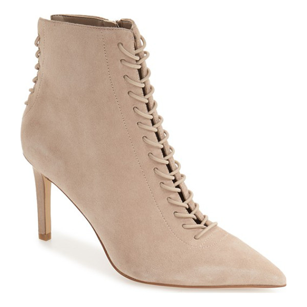 KENDALL + KYLIE 'liza' pointy toe bootie - A corseted vamp and back against a tonal suede finish makes...