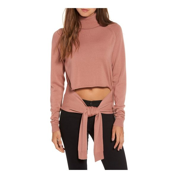 KENDALL + KYLIE tie front turtleneck sweater - Just because you cover up doesn't mean you can't flash a...