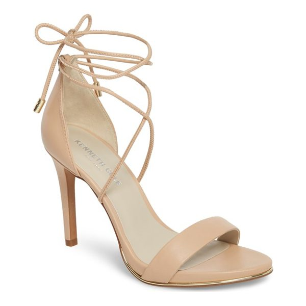 KENNETH COLE berry wraparound sandal - A towering stiletto lifts a barely there suede sandal that...