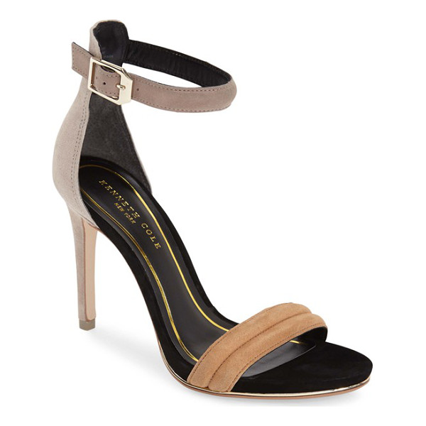 KENNETH COLE brooke ankle strap sandal - A sliver of shimmering metallic leather licks the sole of a...