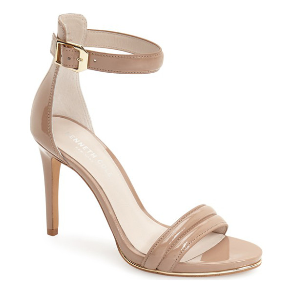 KENNETH COLE 'brooke' ankle strap sandal - A sliver of shimmering metallic leather licks the sole of a...