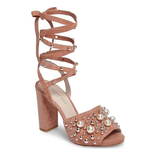 KENNETH COLE dierdre embellished sandal - Mirror-finish dome studs and imitation pearls pepper the...