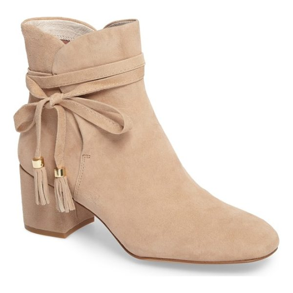 KENNETH COLE estella tassel tie bootie - Beaded and tasseled ties wrap around the ankle of a sweet...