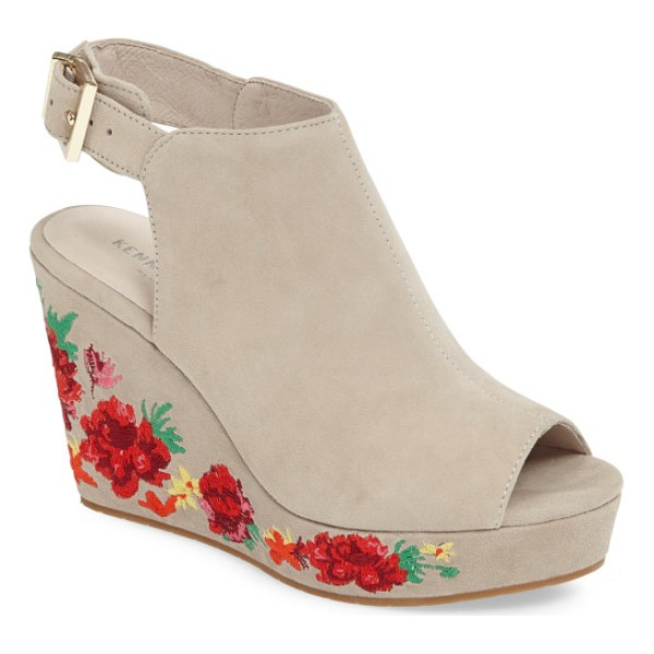 KENNETH COLE olani embroidered wedge sandal - Summery flowers embroidered in brilliant reds bloom along...