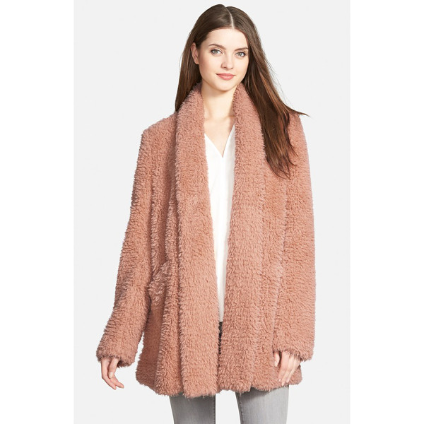 KENNETH COLE 'teddy bear' faux fur clutch coat - An open-front, shawl-collar coat in a versatile mid-thigh...