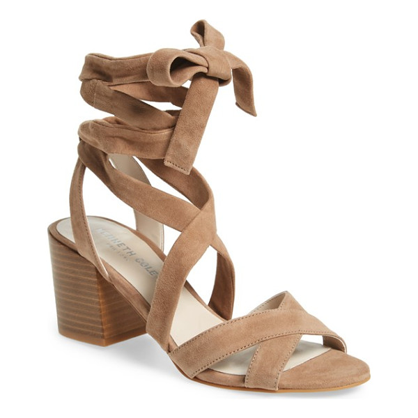 KENNETH COLE 'victoria' leather ankle strap sandal - A wrapped block heel lifts a trend-right suede sandal...