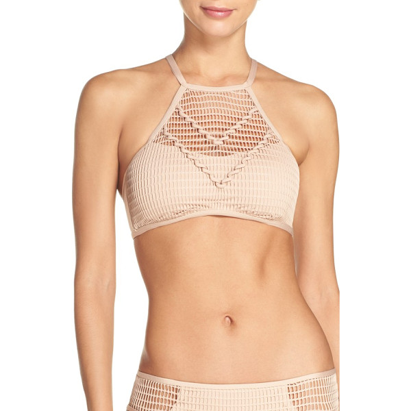 KENNETH COLE wrapped in love halter bikini top - A sheer mesh overlay makes this high-neck bikini top look...