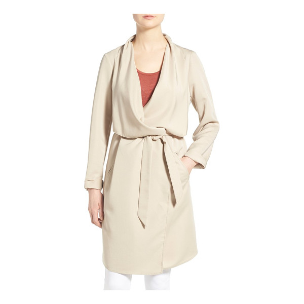 KENSIE belted drape front trench coat - The beautiful drape of this go-to trench coat is enhanced...