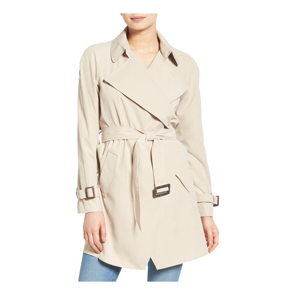 KENSIE belted drapey trench coat - The beautiful drape of this go-to trench coat is enhanced...