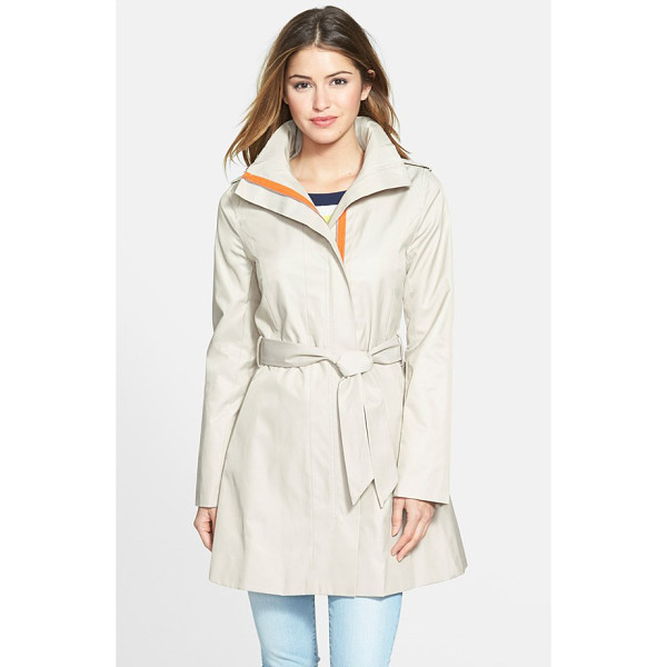 KENSIE contrast trim belted trench coat - Bright contrast peeks out from the concealed placket of a...