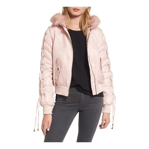KENSIE lace-up sleeve quilted bomber jacket - A cozy choice for cold days, this quilted bomber sports an...