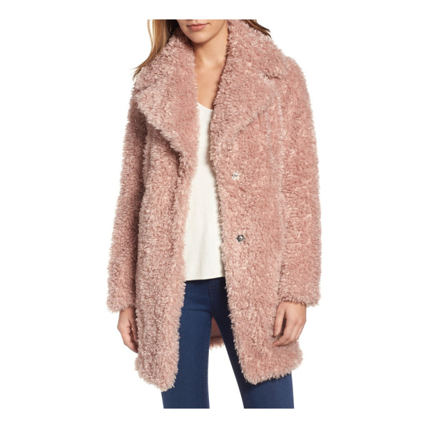KENSIE 'teddy bear' notch collar reversible faux fur coat - An oversized notch collar tops a versatile three-quarter...
