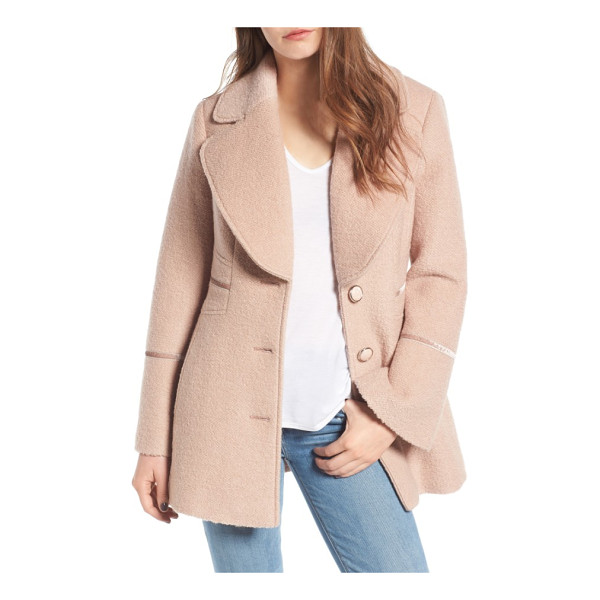KENSIE velvet trim bell sleeve coat - At once retro and totally on-trend, a wool-enriched coat...