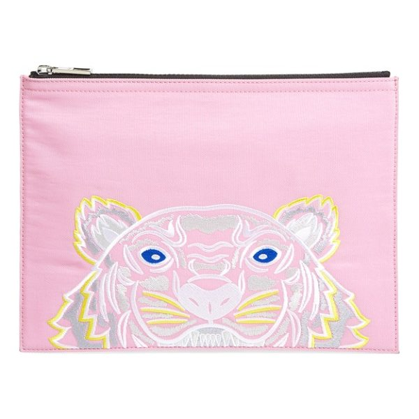 KENZO kanvas tiger embroidered a4 pouch - An embroidered KENZO logo and signature tiger head lend...