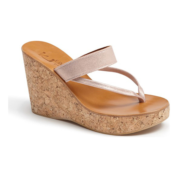 K. JACQUES saturnine cork wedge sandal - Shimmering leather straps wrap the foot on a hand-made...