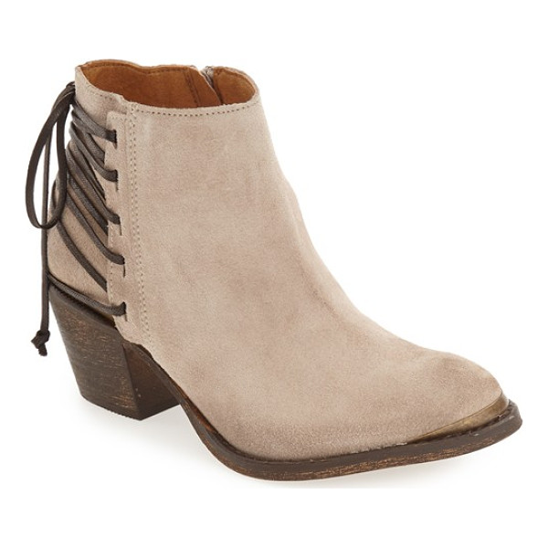 KLUB NICO 'berta' bootie - Wraparound straps corset the back of a weathered-suede...
